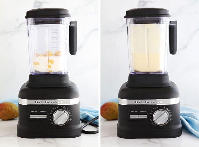 Lassi a la mangue - Mixer au blender yaourt mangue lait sucre