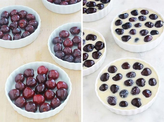 Mini clafoutis aux cerises recette facile ETAPES : mettre les cerises dans le fond des moules à tartelettes beurré, versez l'appareil à clafoutis dessus.