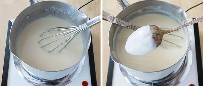 Bechamel maison Etape 2 - Laissez la sauce epaissir en remuant sans arret