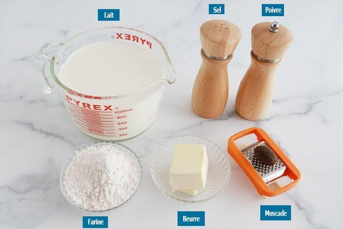 Ingredients de la bechamel maison Beurre farine lait sel poivre muscade