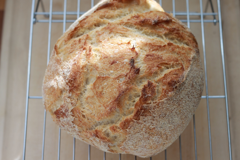 Ce pain sans pétrissage à la cocotte est léger et aéré. Facile, la recette demande un minimum d'effort et pas besoin de connaissances en boulangerie ni de machine à pain. / cuisineculinaire.com