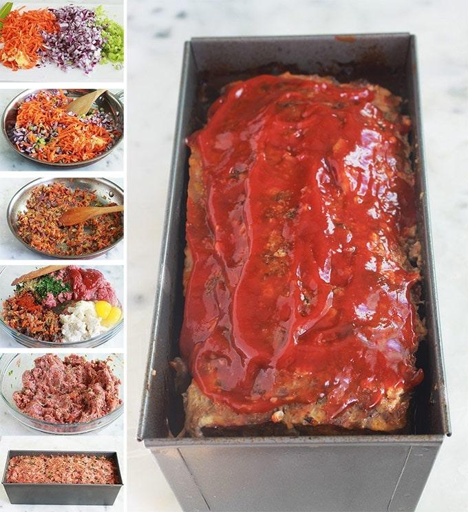 Délicieux pain de viande américain, moelleux, très facile et rapide à préparer. De la viande hachée, légumes, herbes aromatiques et épices, oeufs, mie de pain, ketchup (ou sauce tomate). Bon surtout avec de la purée de pommes de terre et une sauce pour pain de viande (ketchup, sauce tomate, sauce barbecue, ...)