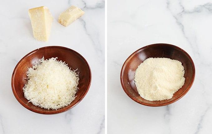 Fromage parmesan Parmigiano reggiano rape deux types