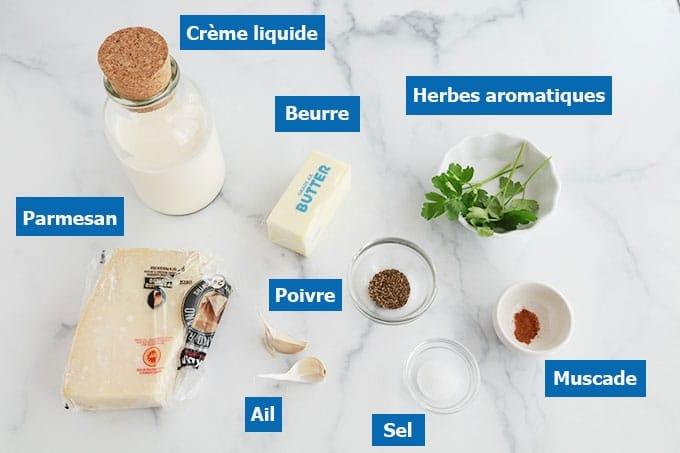Ingredients de la sauce alfredo