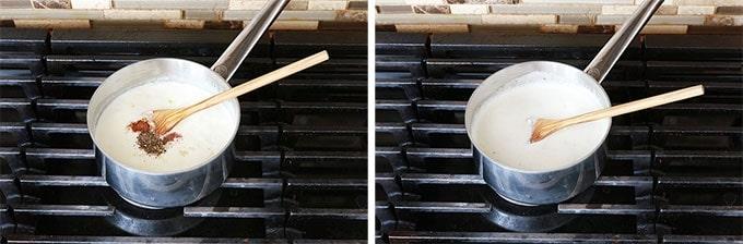 Sauce Alfredo Etape 3 - Ajouter ail epices sel poivre et laisser cuire