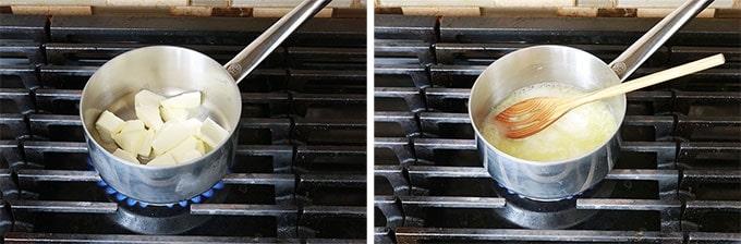 Sauce alfredo Etape 1 - Faire fondre le beurre dans une casserole