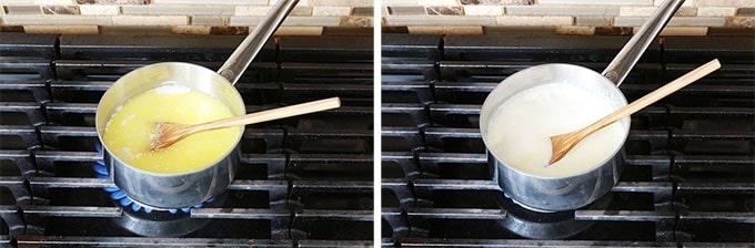 Sauce alfredo Etape 2 - Ajouter la creme et melanger