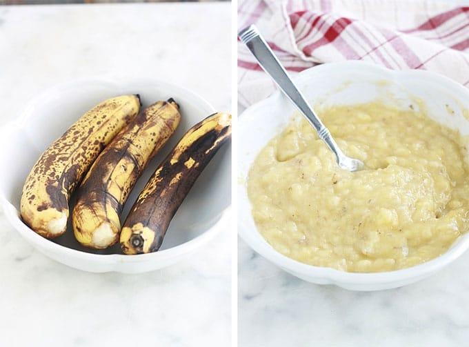 Cake à la banane moelleux très facile. C'est la recette classique du banana bread américain. En plus d'être délicieux, il vous permet d'écouler vos bananes trop mûres que personnes ne veut plus manger. Vous avez besoin de deux saladiers et une fourchette pour mélanger les ingrédients, pas de robot ni batteur électrique.