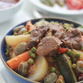 Couscous aux fèves et petits pois