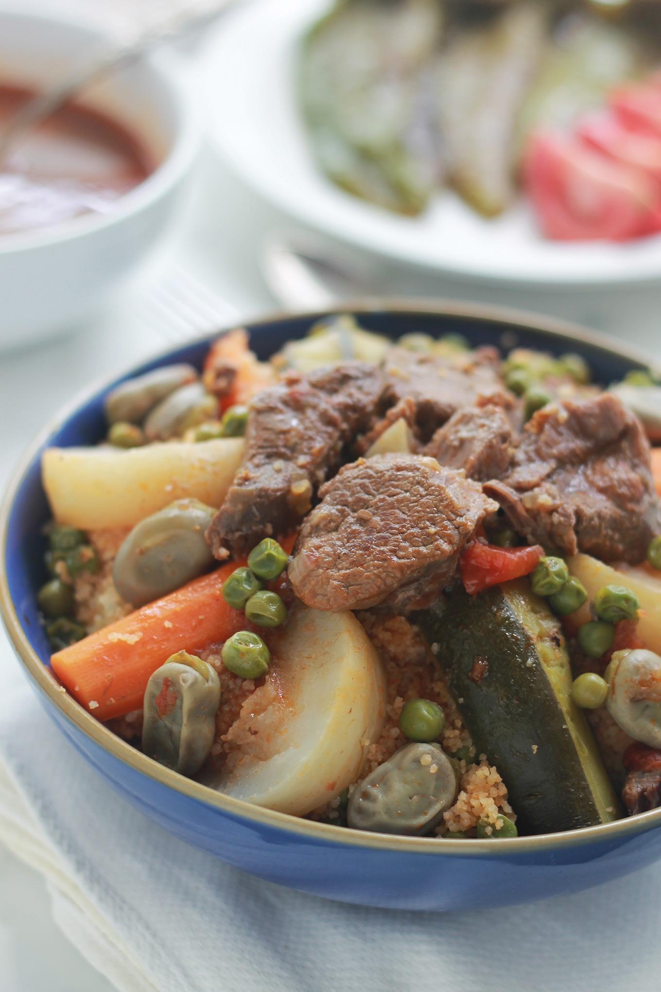 Couscous aux fèves fraîches et petits pois
