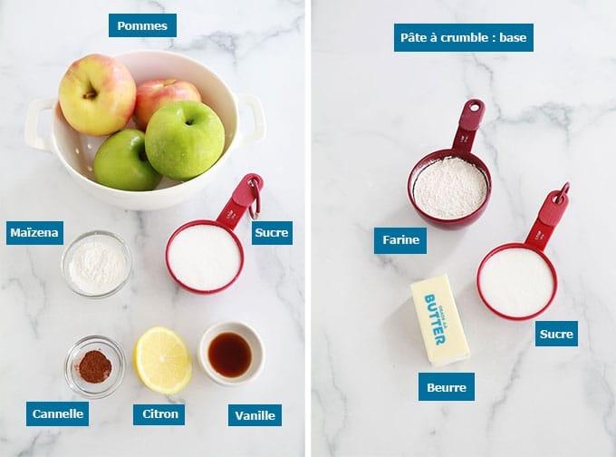 Ingredients crumble aux pommes pate a crumble de base