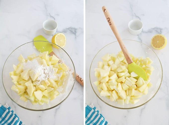 Melanger les pommes avec sucre citron cannelle vanille maizena