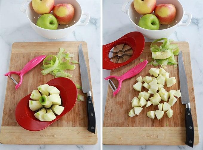 Peler et couper les pommes en morceaux
