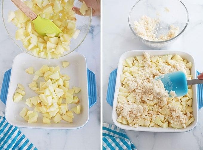 Verser melange de pommes dans le plat beurre et parsemer la pate a crumble dessus