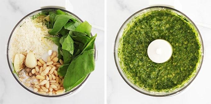 Preparation sauce pesto - mixer au robot basilic ail parmesan pignons de pin huile d olive sel poivre