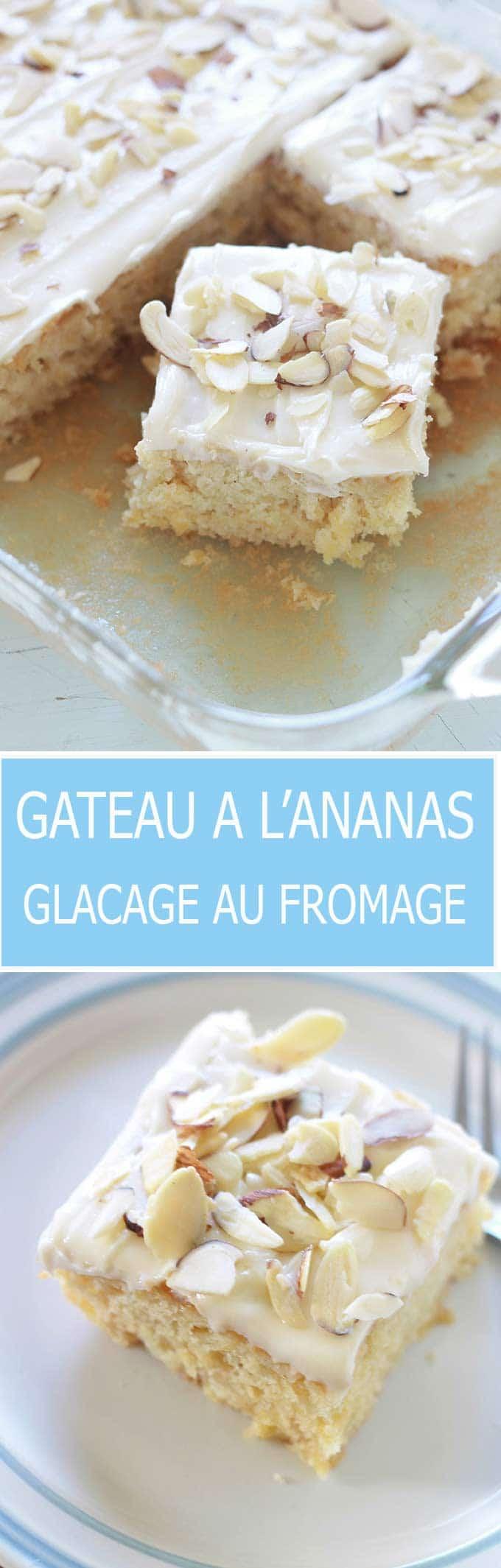 Gâteau à l'ananas moelleux avec un délicieux glaçage au fromage à la crème. Ne contient pas d'huile ni de beurre (à part dans le glaçage, mais il est facultatif). Très facile à faire et à réussir.