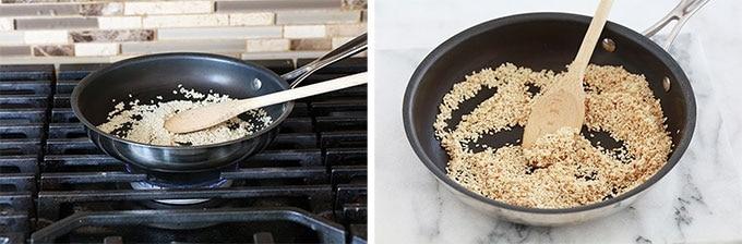 Griller les graines de sesame a la poele - a sec sans matiere grasse
