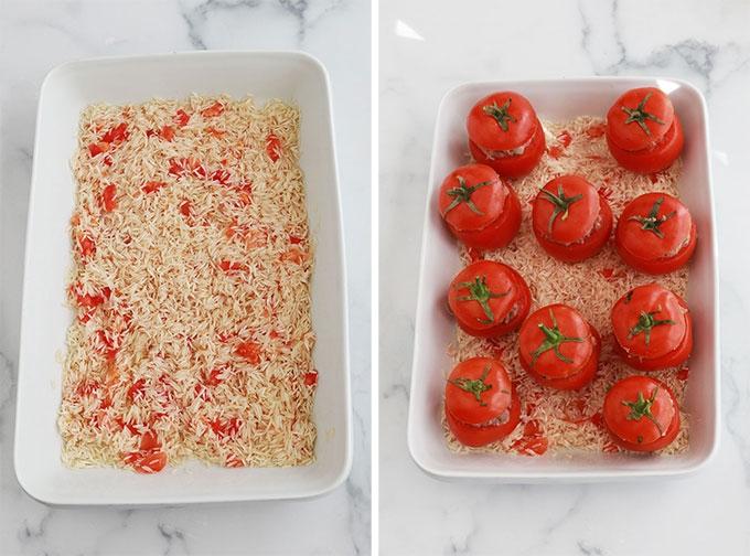 Melangez le riz et la chair et jus de tomates farcir les tomates avec la preparation de viande et les poser sur le riz