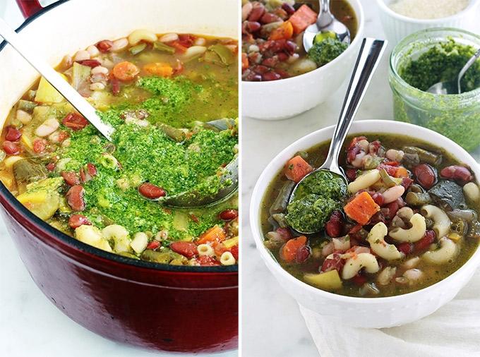 Utilisation du pistou dans la soupe au pistou provençale.