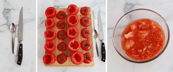 Vider les tomates et garder la chair et le jus