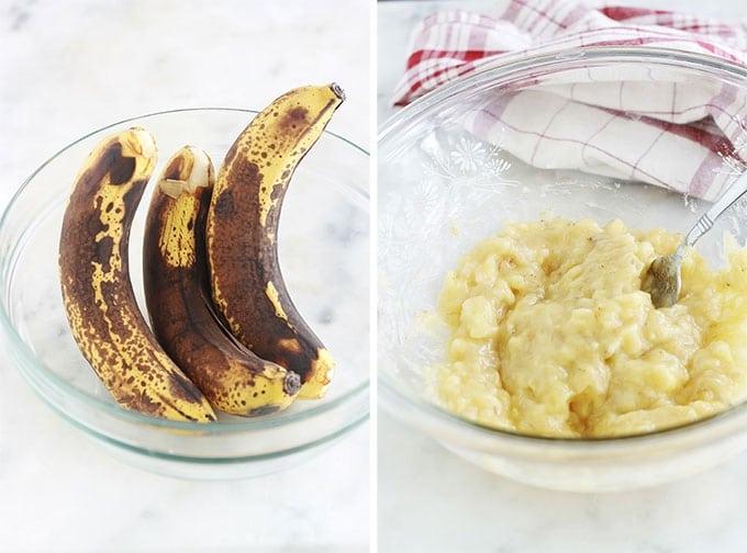 Cake banane chocolat hyper moelleux et fondant. Très facile à faire et inratable. A base de bananes très mûres, chocolat en morceaux ou pépites de chocolat, poudre de cacao et yaourt. C'est le meilleur banana bread au chocolat que j'ai goûté jusqu'à présent.