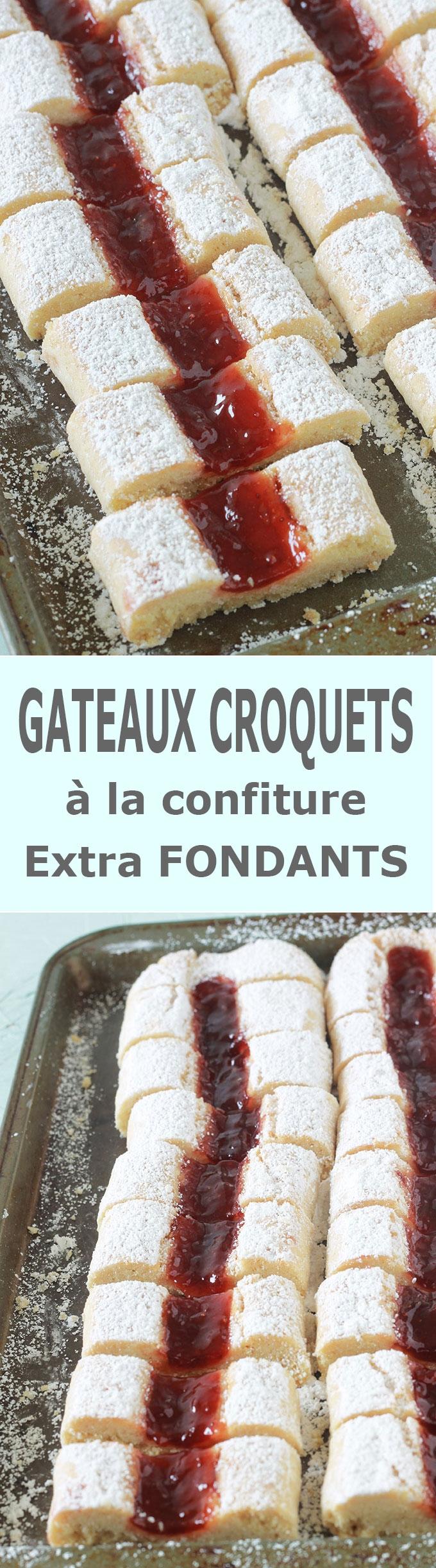 Gâteaux croquets fondants, hyper moelleux à la confiture. Appelés aussi gâteaux croquants ou krokis. Ce sont des biscuits secs cuits en deux fois au four. Sans beurre, économiques, faciles et rapides à faire.