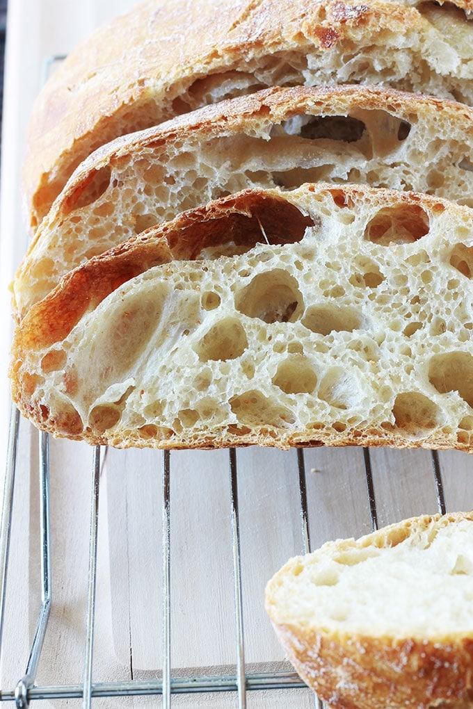 Recette du pain sans pétrissage à la cocotte de Jim Lahey. Avec des astuces pour avoir une mie alvéolée (trous). Pas besoin de connaissances préalables en boulangerie et ne nécessite qu'un minimum d'effort. Idéal pour les débutants en boulangerie mais aussi pour ceux qui n'aiment pas trop pétrir (moi!!). Sans machine à pain, sans robot, sans pétrin.