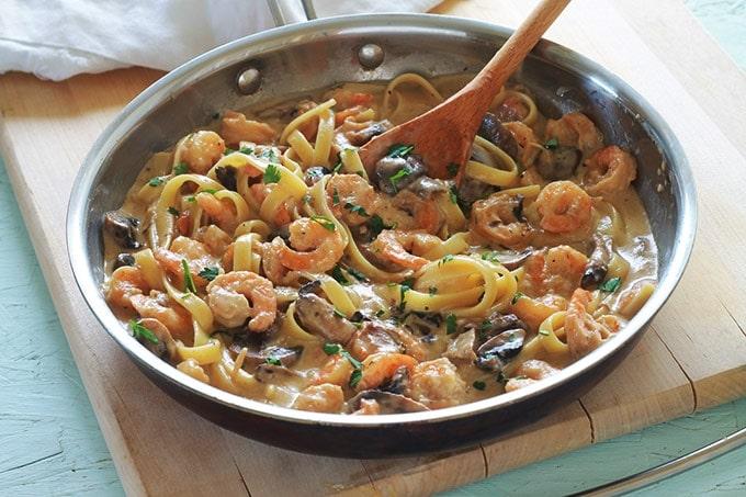 P tes aux crevettes et champignons recette rapide cuisine culinaire - Plat rapide et facile ...