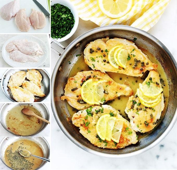 Etapes de la recette du poulet piccata, ou poulet sauce au citron et câpres. Un plat rapide et délicieux. Ce sont des escalopes de poulet dans une sauce onctueuse au citron et aux câpres. La version maison est meilleure que celle du restaurant !