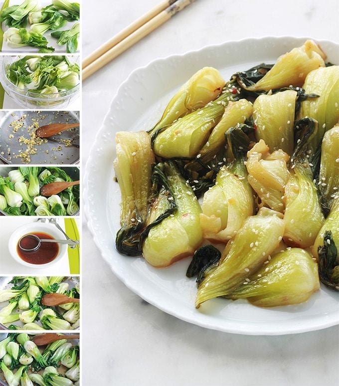 Mini Bok choy sautes recette choux chinois sautes vegetarien vegetalien vegan sans gluten facile rapide