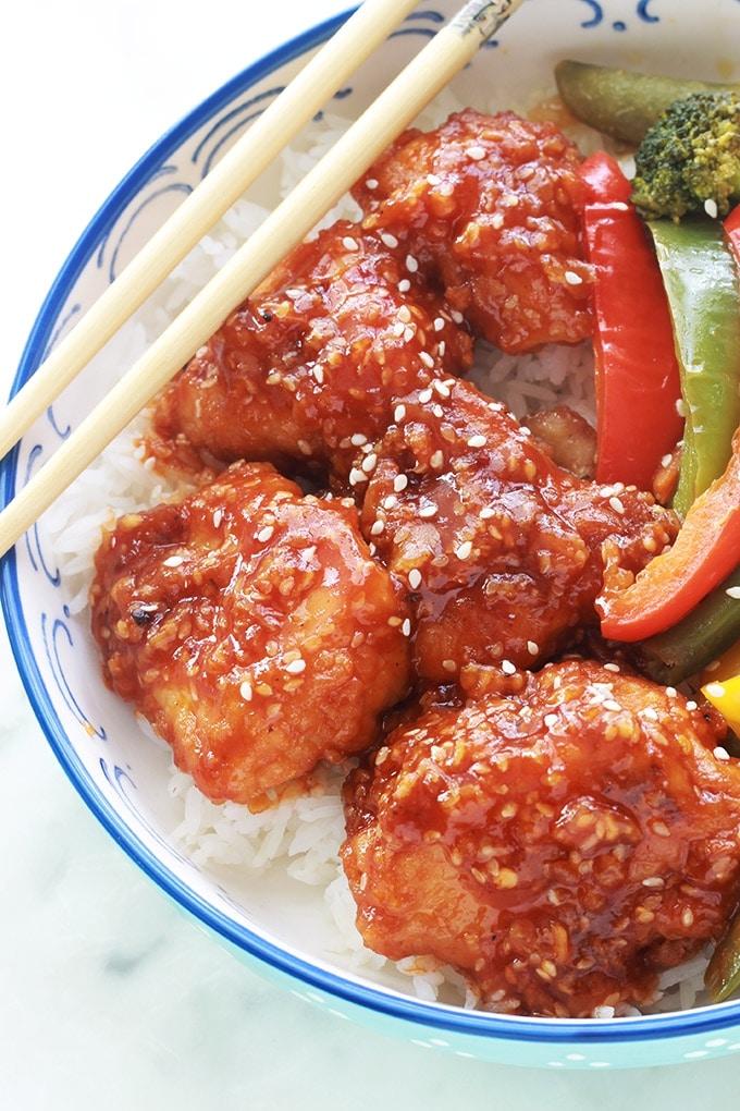 Poulet du general Tao recette facile rapide poulet frit enrobe de sauce