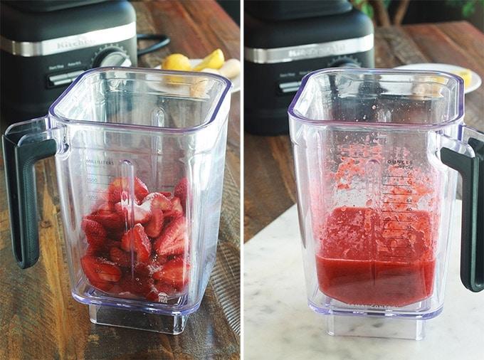 Coulis de fraises frais au blender.