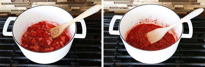 Cuisson du coulis de fraises - fraises fraiches ou surgelees sucre jus de citron