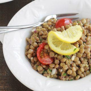 Salade de lentilles, recette facile (vinaigrette moutarde)