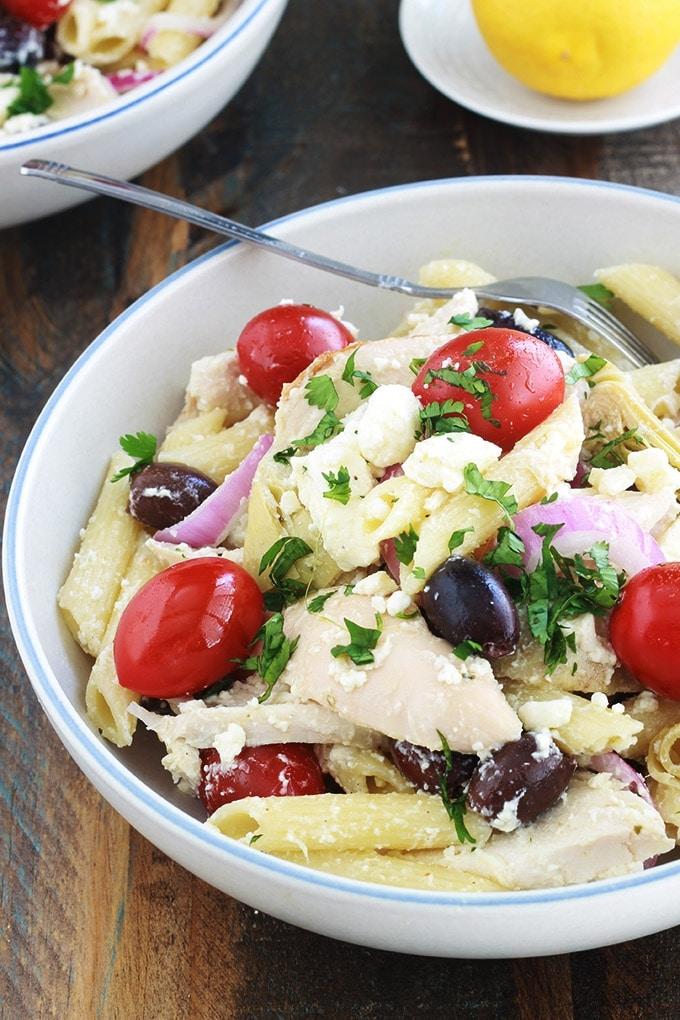 salade de p tes au poulet fa on grecque cuisine culinaire. Black Bedroom Furniture Sets. Home Design Ideas