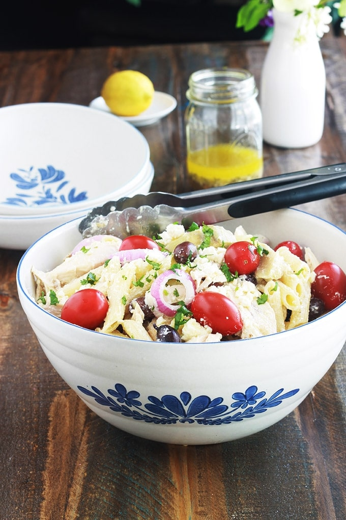Salade de pates au poulet a la grecque recette rapide ...