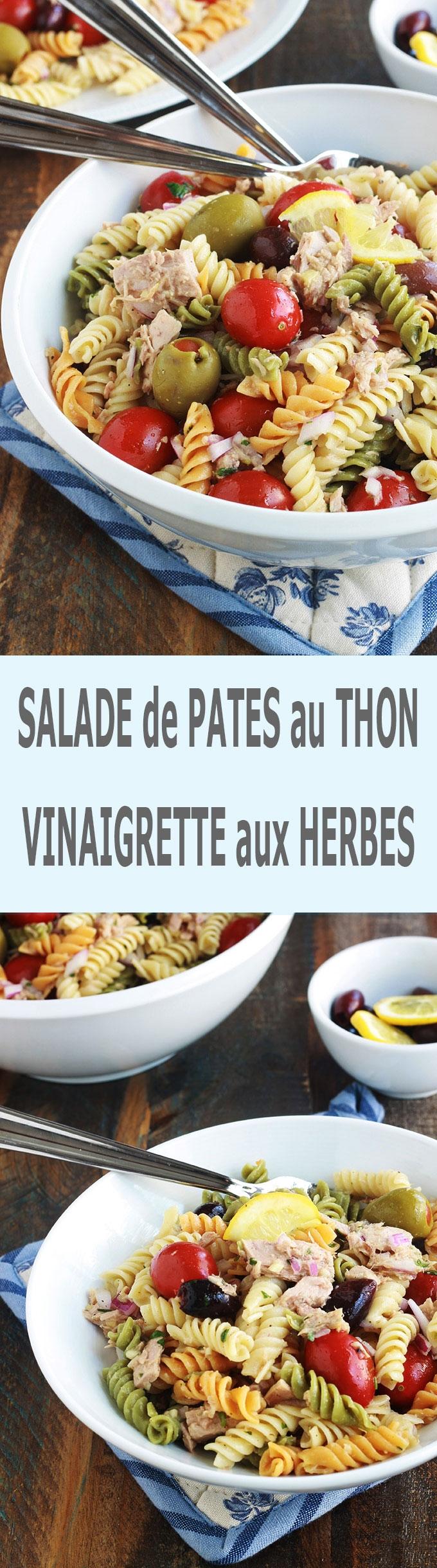 Délicieuse salade de pâtes au thon toute simple, parfumée, avec une vinaigrette aux herbes fines. Une recette facile et rapide à faire. C\'est une salade complète froide, parfaite pour l\'été. Composée de pâtes fusilli 3 couleurs, thon en boîte, tomates, oignon, olives, vinaigrette aux herbes aromatiques.
