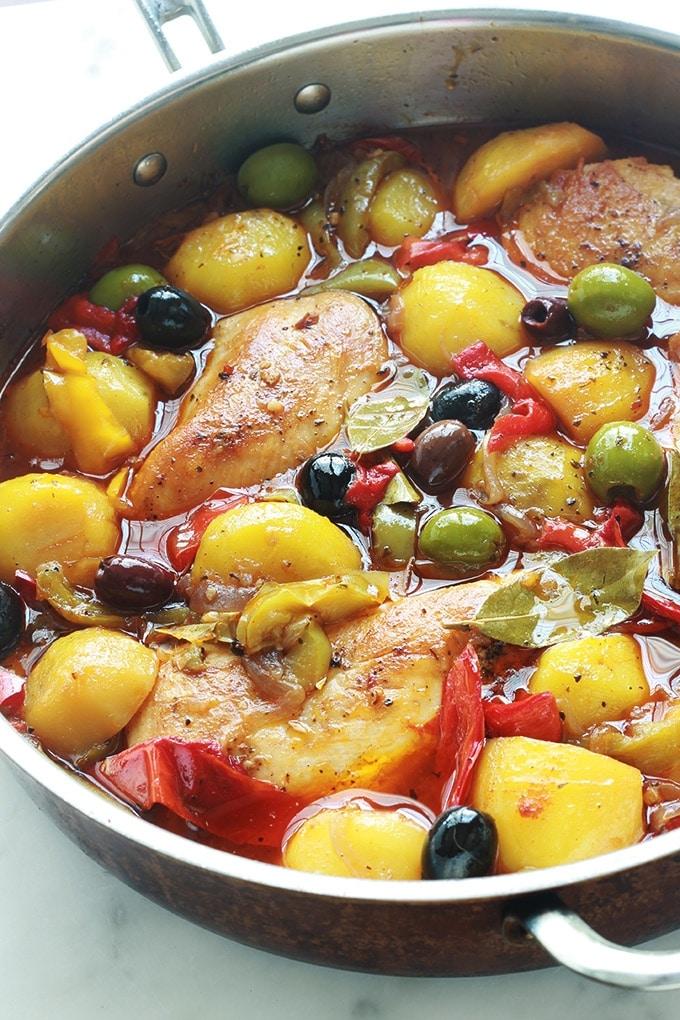 poulet aux poivrons pommes de terre oignons olives. Black Bedroom Furniture Sets. Home Design Ideas