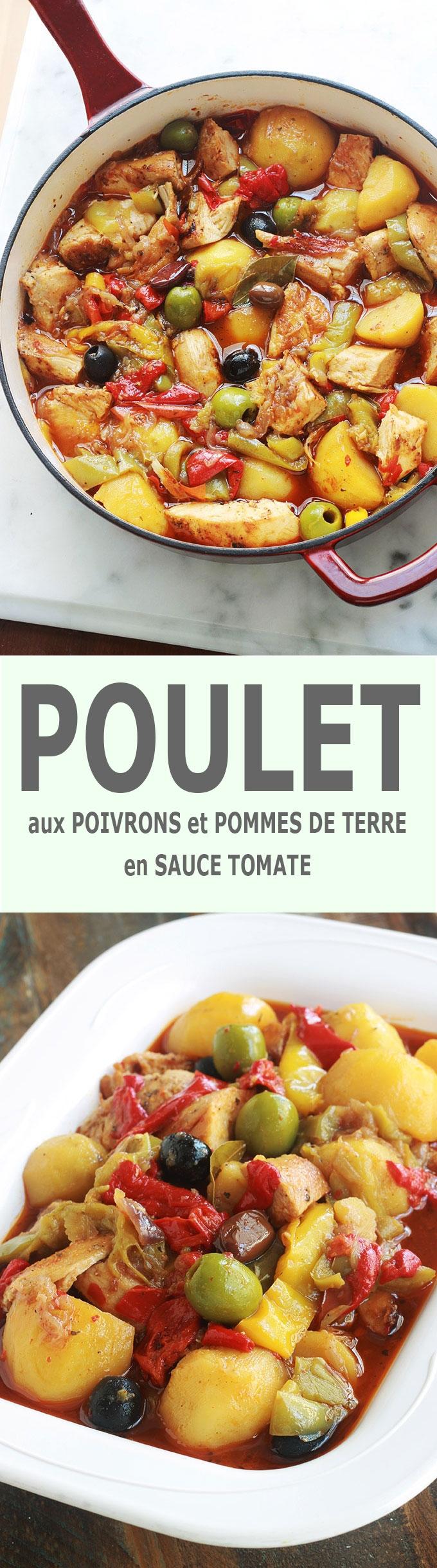 Délicieux plat complet et équilibré : poulet aux poivrons et pommes de terre fondantes en sauce tomate. Ce sont des morceaux de blanc de poulet sautés puis mijotés avec des légumes dans une sauce tomate. Une recette simplissime, facile et économique.
