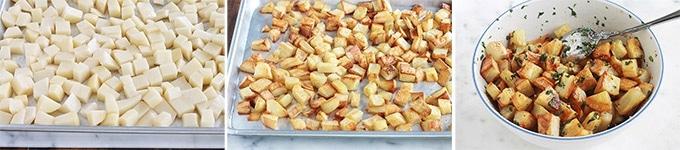 Délicieuses pommes de terre sautées épicées (batata harra), une recette typiquement libanaise et syrienne. Ce sont des pommes de terre frites puis mélangées à une sauce citronnée à l'ail et coriandre. Délicieuses comme snack, à l'apéritif, dans un sandwich ou en accompagnement de viandes et poisson.