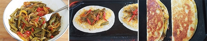 Apprenez comment faire les quesadillas mexicaines. C'est facile, rapide et vous pouvez les garnir de mille et une façons, avec ou sans viande. Ce sont des tortillas mexicaines, garnies de fromage, et éventuellement des légumes et/ou protéine : viande, poulet, poisson ou fruits de mer. Accompagnées d'une sauce, elles font un goûter ou plat rapide et complet.