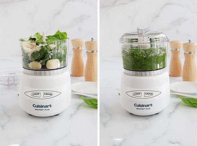 Preparation du pistou - ETAPE 1 - Mixer basilic ail parmesan sel et poivre