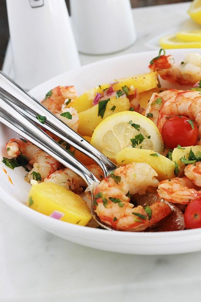 salade de pommes de terre aux crevettes et tomates cuisine culinaire. Black Bedroom Furniture Sets. Home Design Ideas