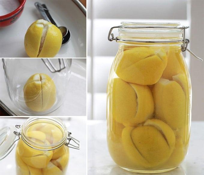 Citrons confits au sel, ou citrons confits salés. Recette marocaine très facile à faire. Pour aromatiser les tajines, les poissons, les viandes, les salades, le couscous, …