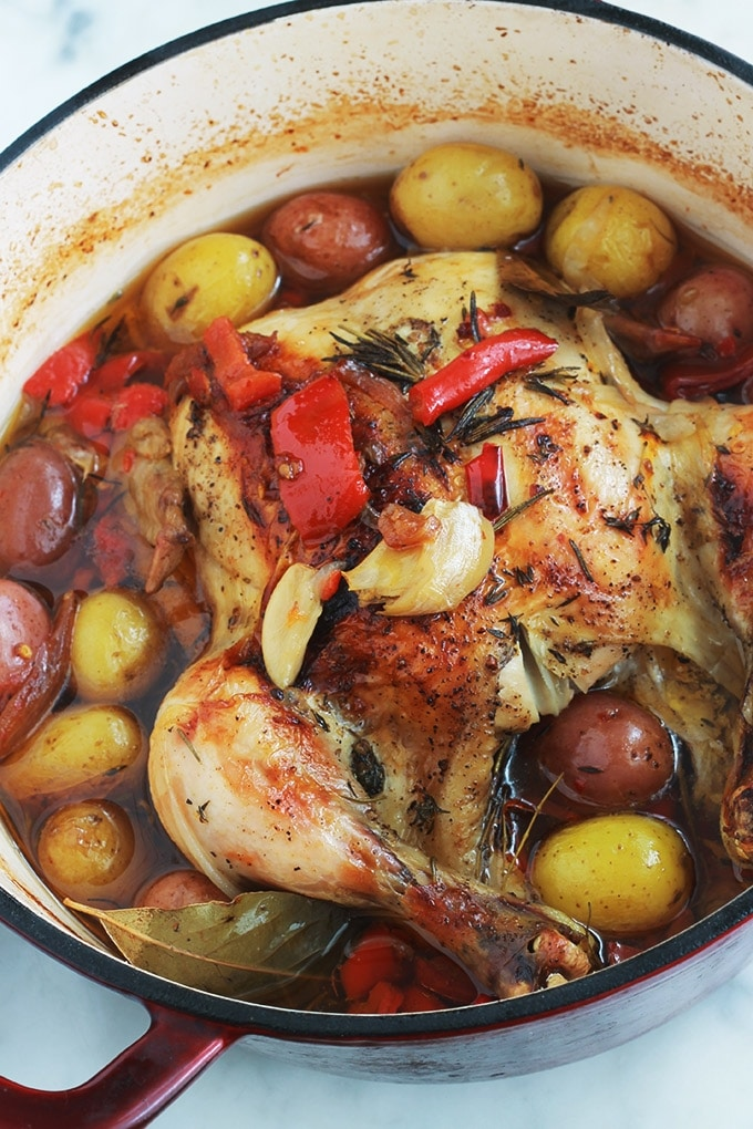 Poulet Roti En Cocotte Au Four Pommes De Terre Poivrons Tomates