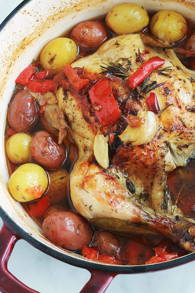 Ce poulet rôti en cocotte au four est très savoureux. La chair du poulet est tendre, fondante et juteuse. Avec les légumes (pommes de terre, poivrons, tomates et oignons) ça vous fait un plat complet, économique et yummy!