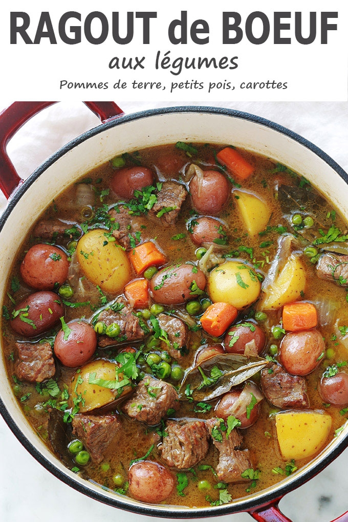 Ragoût de boeuf aux légumes - pomme de terre, carotte, petits pois