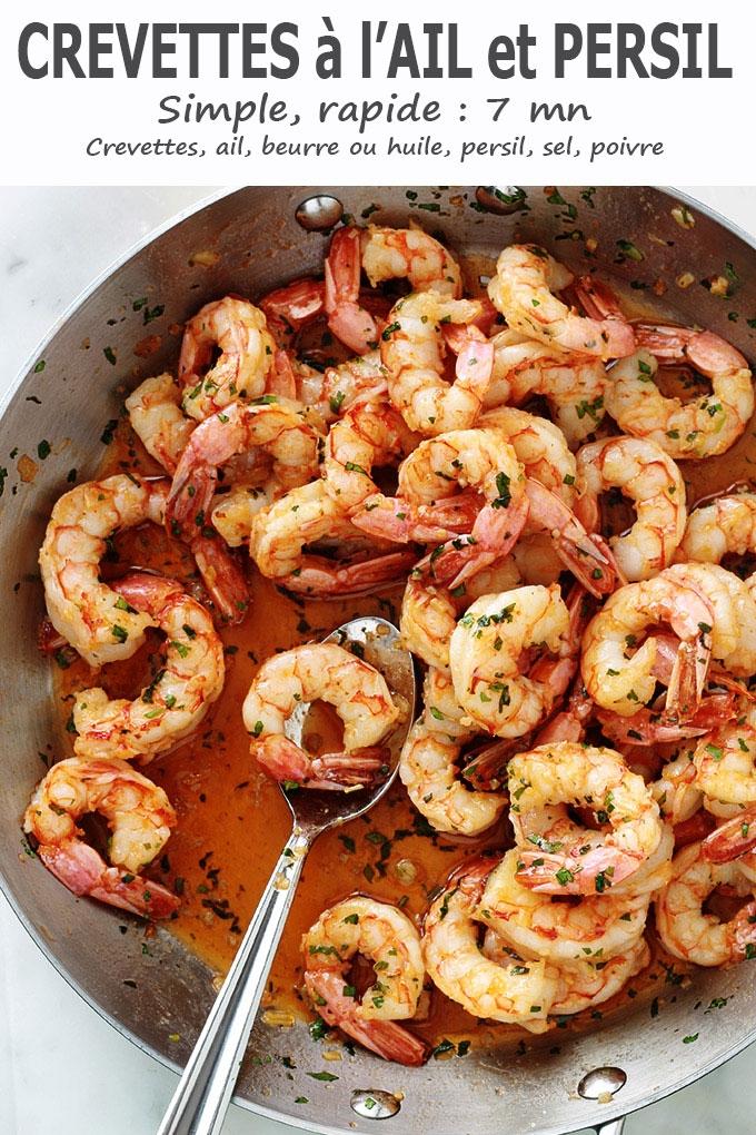 Crevettes sautées à l\'ail et persil, recette rapide