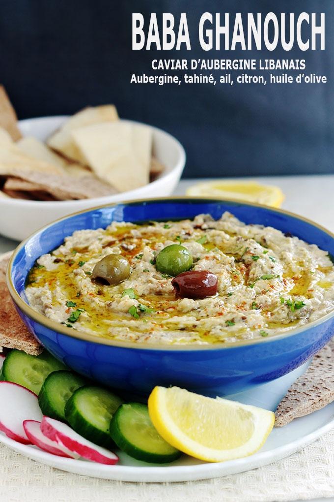 La meilleure recette du Baba ghanoush libanais (ou baba ganouche), caviar d\'aubergine libanais. La vraie recette toute simple et tellement bonne : aubergine, tahiné, ail, citron, huile d'olive. Délicieux en entrée, comme dip pour un apéro dînatoire, un plateau de mezzé, ou en plat d'accompagnement.
