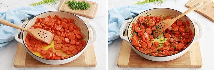 Carottes cuites ajouter persil hache